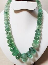 1230 Ct Natural Green Fluorite Melon Beads Carving Beautiful Necklace 19 Inches