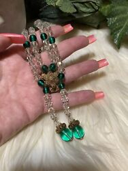 Miriam Haskell Early Prototype Magnificent Green Glass/crystal Necklace Minta7
