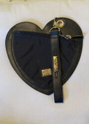Moschino Redwall Black Leather Heart-shaped Gold H/w Wristlet Bag