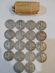 Roll Of 18 Walking Liberty Half Dollars Fifty Cent Coins 1936 To 1945 Mg