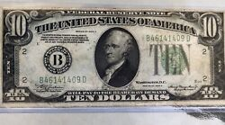 1934-a 10 Dollar Bill Federal Reserve Note-new York - Good Condition