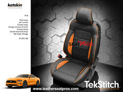 Katzkin Leather Seat Covers 15-20 Ford Mustang Coupe Convertible Black Orange