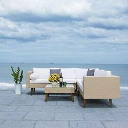 Safavieh Outdoor Collection Analon Wicker Cushion Sectional Set Pat7716b-3bx, Be