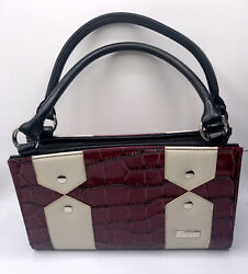 Miche Classic Purse Base Bag And Handles With Tan Interior/ Red And Cream Shell