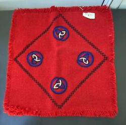 2nd-vintage, Red Wool Pillow Cover W/ Fringe, Celtic Symbol Embroidered