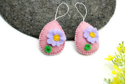 8 Cm Pink Handmade Easter Eggs - Felted Easter - Easter Toys - Gifts - Kids Toy
