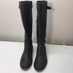 Essence By Aetrex Tall Riding Boots Womens Size 6 C/d Brown Leather Sweater Knit