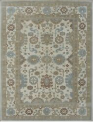 8'x10'|9'x12'|10'x14'|12'x18' Rug |hand Knotted Oushak Ivory Ivory Wool Area Rug