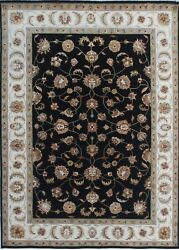 5and039x 7and039 Rug | Hand Knotted Black Ivory Wool And Silk Area Rug
