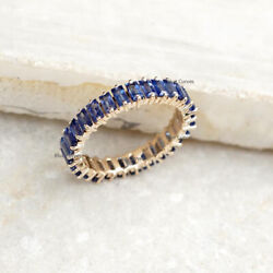 New 14k Yellow Gold Baguette Full Eternity Blue Sapphire Band Ring Xmas Jewelry
