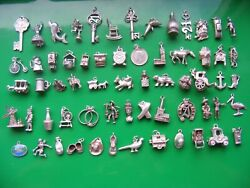 M Vintage Sterling Silver Charms Charm Bible Horse Cow Church Coin Tiger Rings