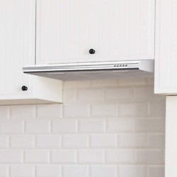 Silver Slim Range Hood Vent 30 Over Stove Ductless Convertible Under Cabinet Led