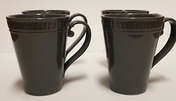 Set Of 4 New Mikasa Italian Countryside Accents Mugs Gray Coffee Lovers Gift