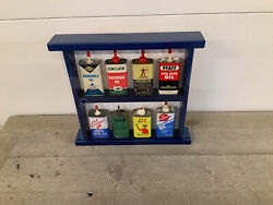 Vintage Household 6 Oil Cans With Custom Shelf Display