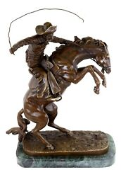The Bronco Buster Sculpture - Bronze Figurine - Frederic Remington Signed