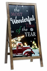 Lighted Wonderful Time Of The Year Wooden Porch Sign - Black