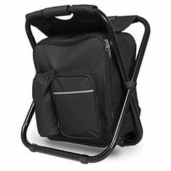 Portable Backpack Cooler Chair Lightweight Folding Stool Outdoor 400Lbs Capacity $43.83