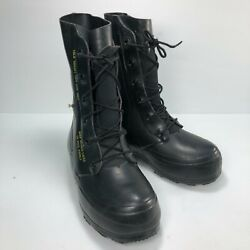Vtg Usa 80s Bata Black Rubber Mickey Mouse Lace Mens Military Combat Boots Sz 5w