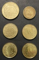 France Coins From 1963-1970 1-5 Centimes 4-10 Centimes 1-20 Centimes-lot Of 6