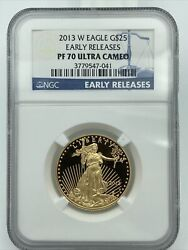 2013-w Ngc Pf70 Ultra Cameo Early Releases 25 Gold American Eagle