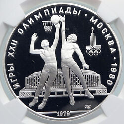 1980 Moscow Summer Olympics 1979 Basketball Proof Silver 10ruble Coin Ngc I89333