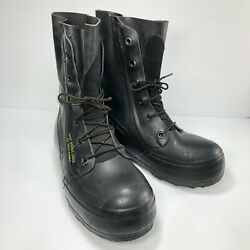 Vtg Usa 80s Bata Black Rubber Mickey Mouse Lace Mens Military Combat Boots Sz 8r