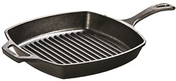 Lodge Pre-seasoned Cast Iron Grill Pan With Assist Handle 10.5 Inch Black