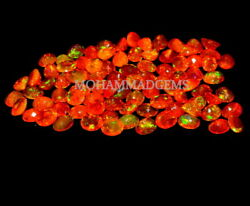 Natural Ethiopian 7x9 Mm Oval Faceted Aaa Fire Opal Loose Gemstone Orange Opal