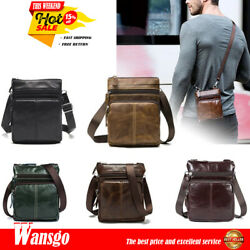 Men#x27;s Messenger Leather Genuine Bag Business Small Flap Crossbody Shoulder Purse $16.99