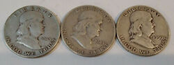 3 Franklin Half Dollars 1948-d, 1949 And 1950 Fifty Cent Coins Mg