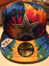 Dallas Cowboys Nfl Crucial Catch Tie-dye On Field 5950 Fitted Hat Cap Lid Cancer