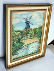 Art 1963 Hand Oil Painting Cardboard Mill Germany Wooden Frame Picture Singed .