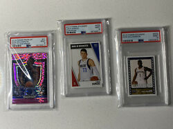 3-card Lot Zion Williamson And Luka Doncic Psa 9 Rookie Card And Stickers