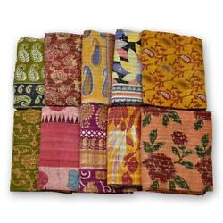 100 Pcs Indian Tribal Kantha Quilts Vintage Cotton Bed Cover Throw Old Sari Made