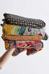 100 Pcs Vintage Quilts Indian Kantha Throw Blanket Bedspread Bed Cover Hippie