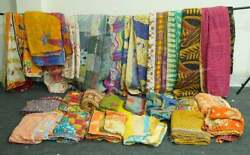 100 Pc Indian Quilt Vintage Kantha Throw Reversible Boho Bed Cover Kantha Hippie