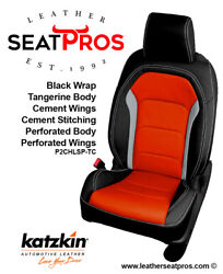 Leather Seat Covers 16-21 Camaro Coupe Convertible Black Tangerine Gray Perfed