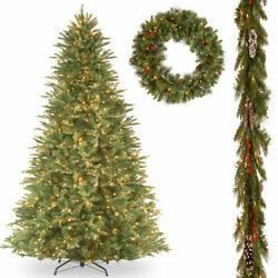 National Tree Company 12and039 Feel Real Fir Slim Hinged Tree With 9and039 X ...