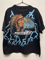 Vintage 80s 90s American Thunder Native American T-shirt Boxy Indian Chief Sz L