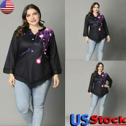 Plus Size Womens 3/4 Sleeve Printed T Shirt Summer Casual Loose V Neck Blouse Us