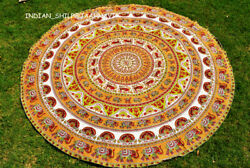 Round 72quot; Mandala Yellow Indian Tapestry Yoga Mat Hippie Beach Throw Table Cloth