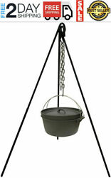 Cast Iron Pot Tripod Camping Outdoor Cooking Campfire Picnic Fire Grill Oven New
