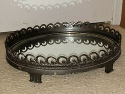 Vintage Scroll Metal Oval Footed Vanity Mirror Tray 15quot; x 10quot; x 3.5quot;