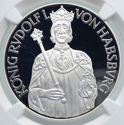 1991 Austria King Rudolf I And Women Vintage Silver 100 Schilling Coin Ngc I89351