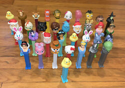 Huge Vintage Mixed Lot Of 35 Pez Dispensers Disney Wizard Of Oz Incredibles Sant