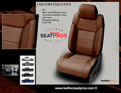 Leather Seat Covers 14-21 Tundra Crewmax Crew Double Cab Black Mahogany Suede
