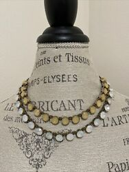 Euc Ann Taylor Loft Double Strand Chunky Necklace Antiqued Brass Tone