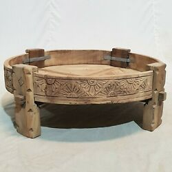 Indian Tribal Chakki Antique Grinder Full Round Coffee Table Natural 65x65x30cm