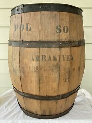Antique Industrial/military Oak Shipping Barrel General Store Display Home Deco