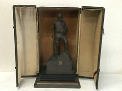 Y2410 Statue Jitsuzo Hinago Copper Figure Army Soldier Signed Box Japan Vintage